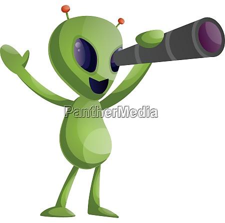 alien with telescope illustration vector on