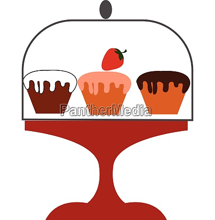 three cup cakes vector or
