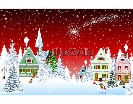 christmas, star, in, the, sky, over - 27508619