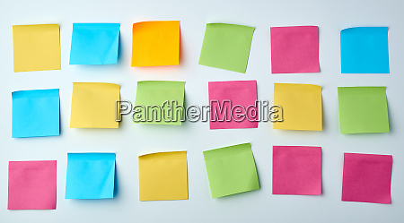 three rows of blank square paper