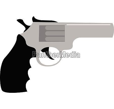 clipart of a revolver in black