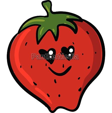 emoji of the romantic strawberry smiling