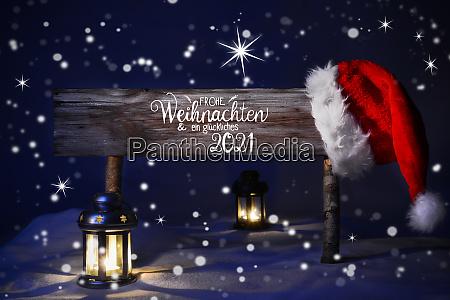 christmas night with snow lamp santa