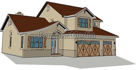 big nice house illustration vector on