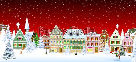 christmas old city night snowflakes scene
