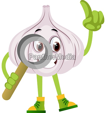 garlic with magnifying tool illustration vector