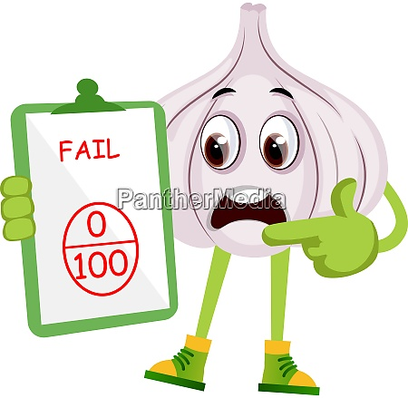 garlic with bad grade illustration vector