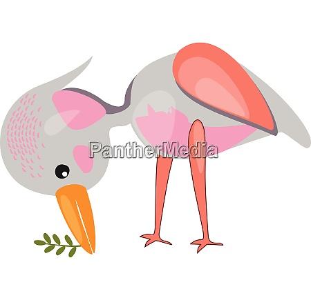 a bird holding a plant vector