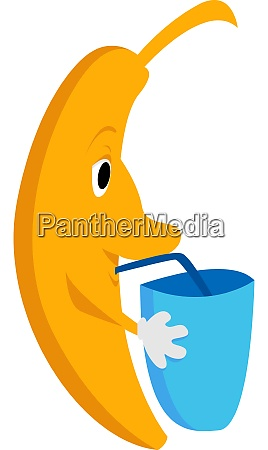 banana with water illustration vector on