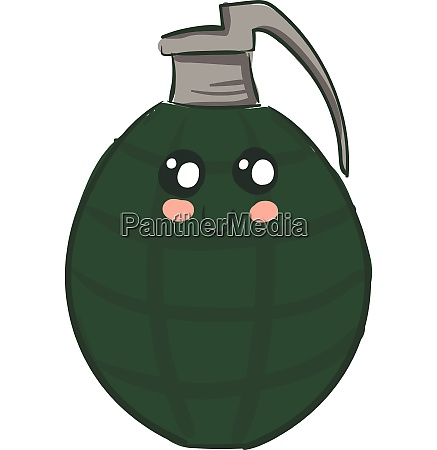 grenade with face illustration vector or
