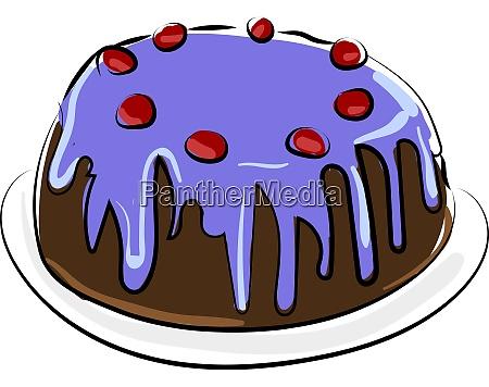 cherry cake illustration vector on white