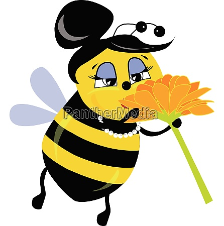 female bee cuty smelling flower vector