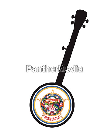 banjo silhouette with minnesota state seal