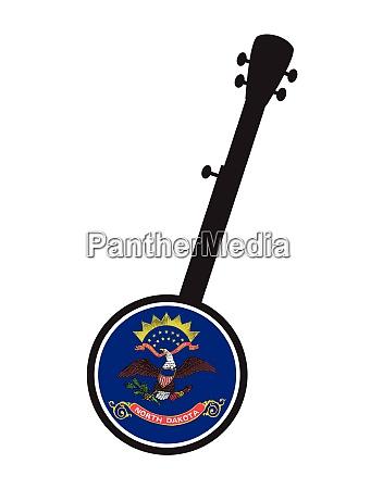 banjo silhouette with north dakota state