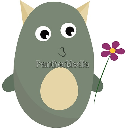 monster with flower vector or color