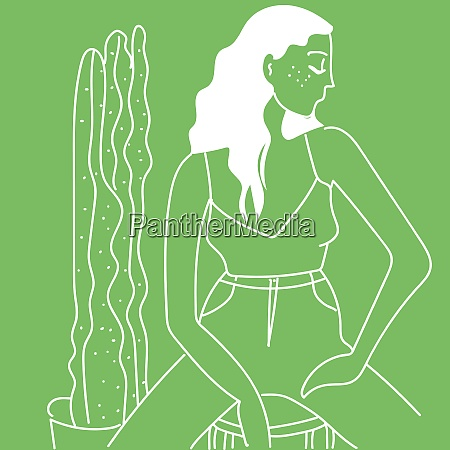 girl and cactus vector or color