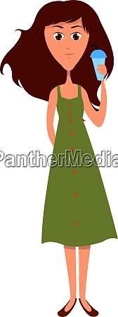 girl in green dress illustration vector