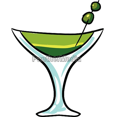 green cocktail vector or color illustration