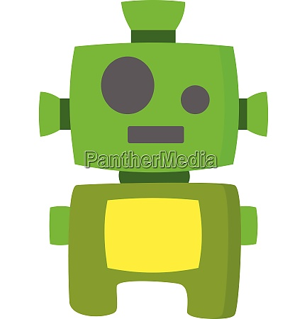 green robot vector or color illustration