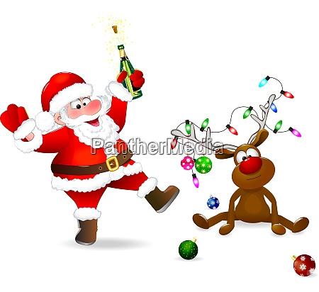 joyful, santa, and, christmas, deer - 27511638