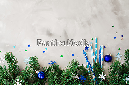 christmas background with straws with various