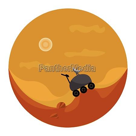 a mars rover on mars vector