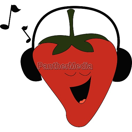 strawberry listening to music vector or