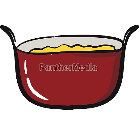 red saucepan vector or color illustration