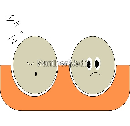 sleeping eggs vector or color illustration