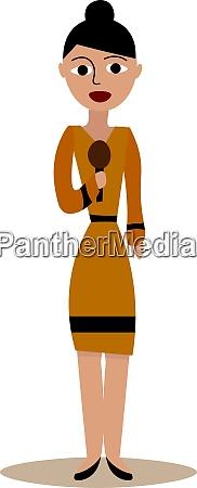 journalist woman illustration vector on white