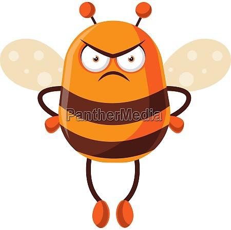 bee looking mad illustration vector on