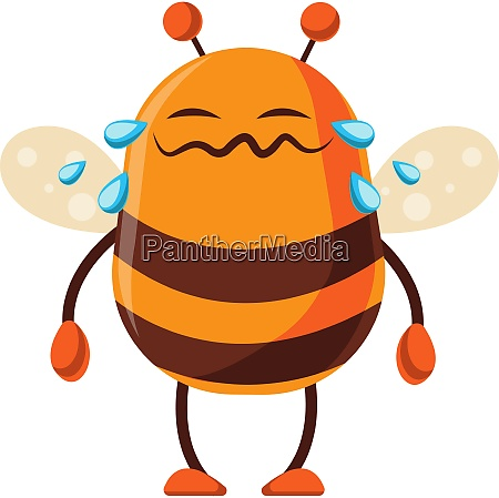 bee is crying illustration vector on