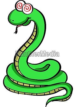 green snake illustration vector on white
