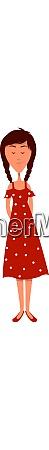 girl in red polka illustration vector