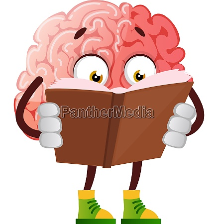 brain is reading a book illustration