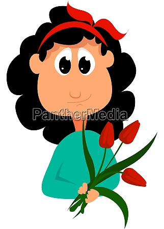girl with flowers illustration vector on