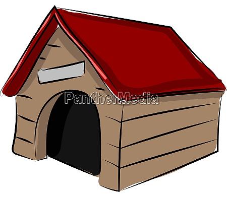dog house illustration vector on white