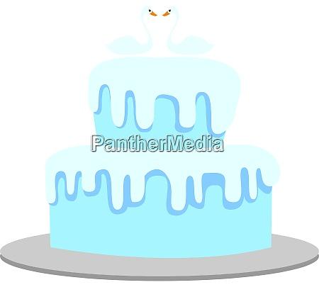 blue cake illustration vector on white