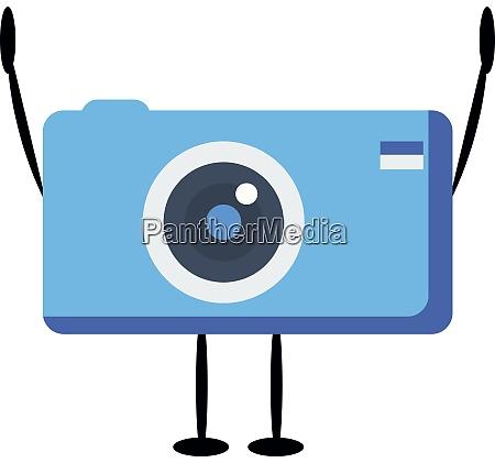blue camera illustration vector on white