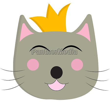 a happy cat with a crown