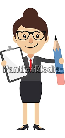woman with notebook and pen illustration