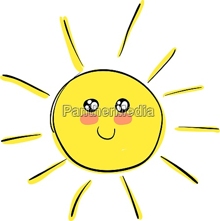 a happy and cute sun vector
