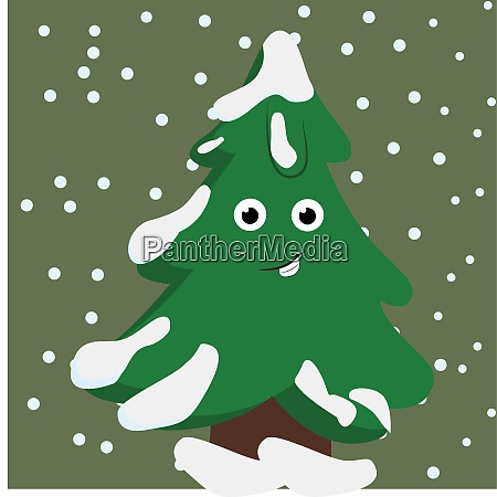 a happy fir tree vector or