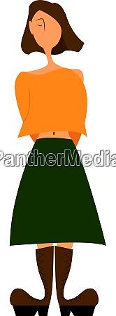a girl in a green skirt