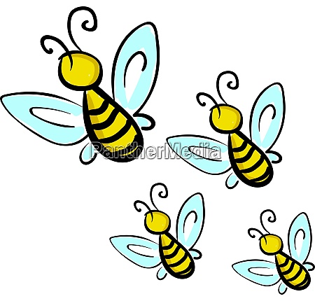 a 4 yellow flying honey bees