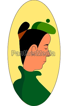 a girl with a green hat