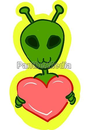 a green alien holding a heart