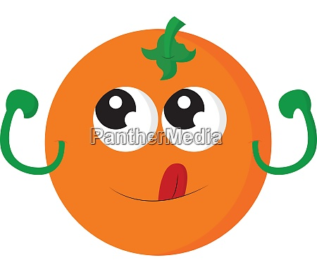 an orange with cute eyes vector