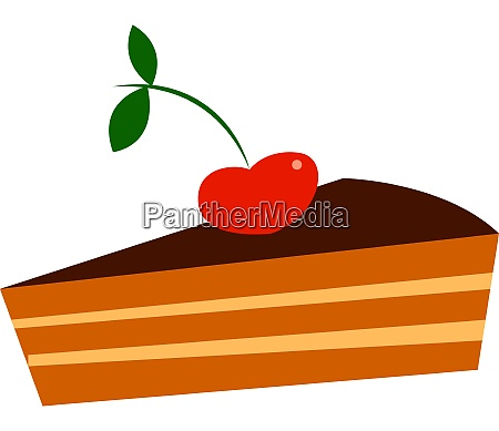 chocolate pie with a cherry vector