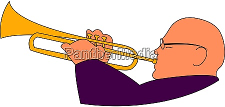 trumpeter illustration vector on white background